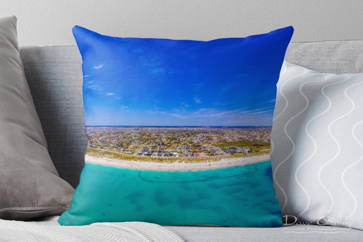 Quinns Paradise - Aerial View, Quinns Rocks, Perth, Western Australia, Seascape Cushion Cover (QCD1.1-V1-CC1)