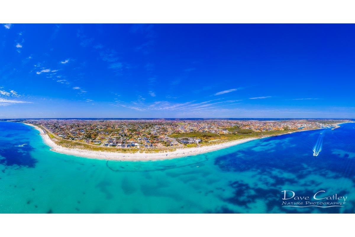 Quinns Paradise - Aerial View, Quinns Rocks, Perth, Western Australia, Seascape Stubby Holder (QCD1.1-V1-SH1)