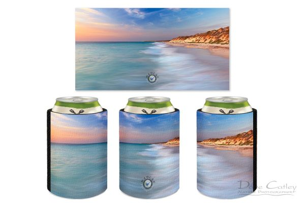 Smooth Waters - Beach Seascape, Quinns Rocks, Perth, Western Australia, Seascape Stubby Holder (QRS1.8-V1-SH1)