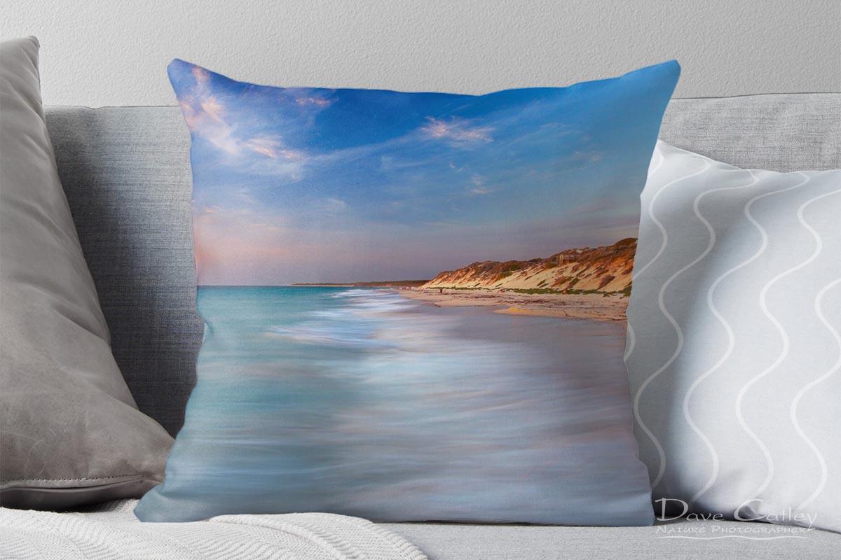 Smooth Waters - Beach Sunset, Quinns Rocks, Perth, Western Australia, Seascape Cushion Cover (QRS1.8-V1-CC1)