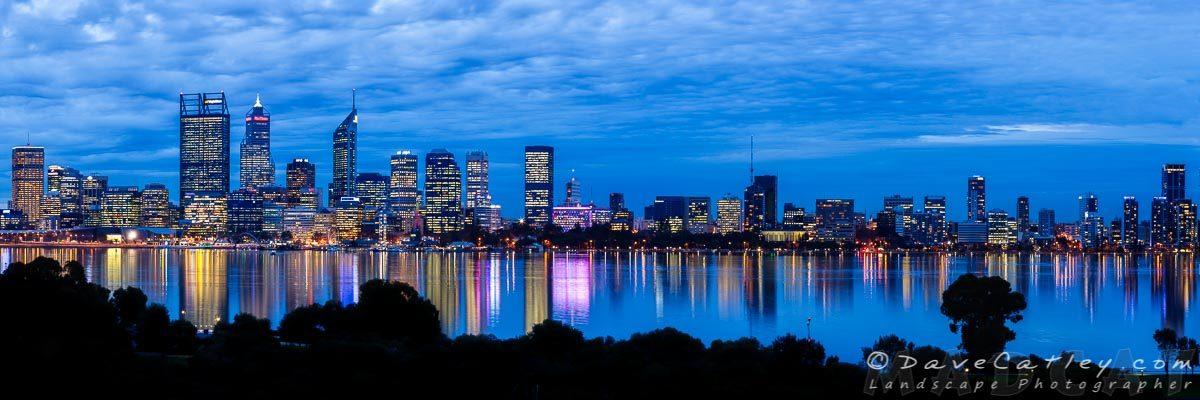 City Blues, Perth City Skyline, Western Australia - Photographic Art