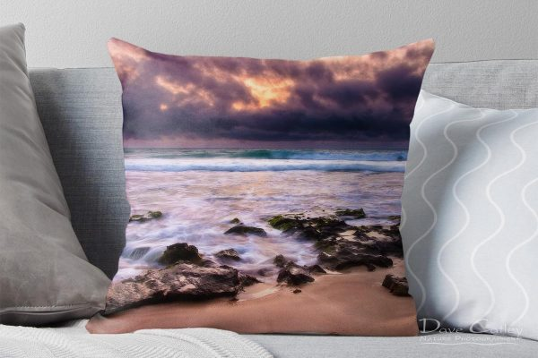 Stormy Night - Claytons Beach, Mindarie, Perth, Western Australia, Seascape Cushion Cover (MCR1.2-V2-CC1)