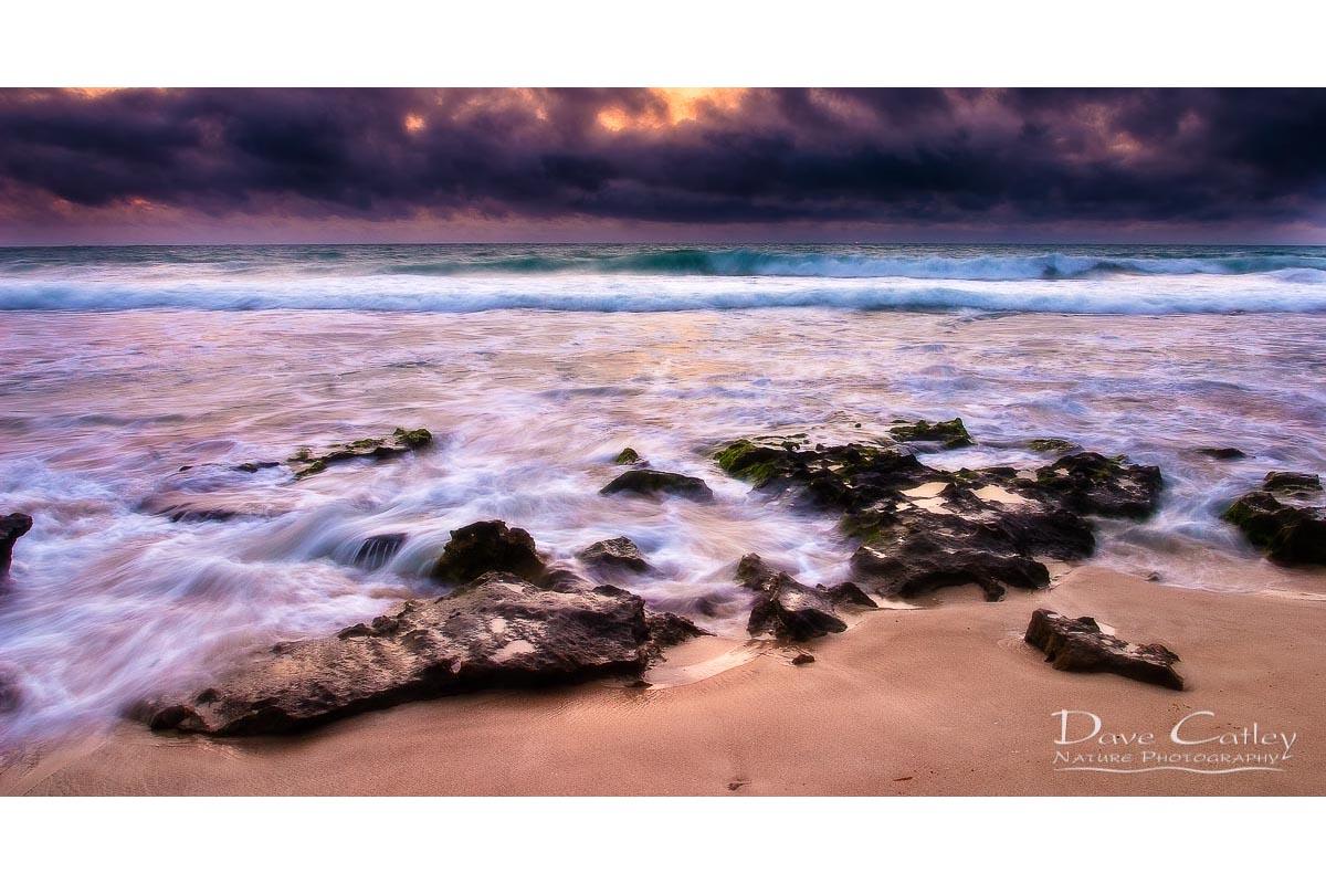 Stormy Night - Claytons Beach, Mindarie, Perth, Western Australia, Seascape Stubby Holder (MCR1.2-V2-SH1)