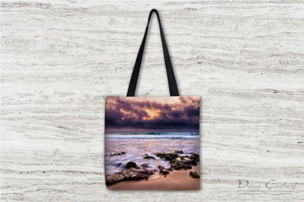 Stormy Night - Claytons Beach, Mindarie, Perth, Western Australia, Seascape Tote Bag (MCR1.2-V2-TB1)