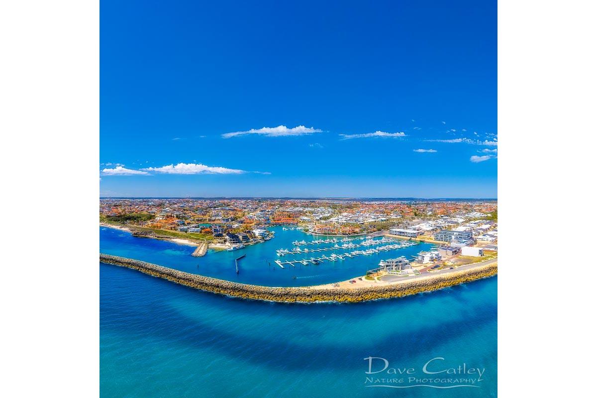 Marina Vista - Coastline Panorama, Mindarie, Perth, Western Australia, Seascape Cushion Cover (MCD1.2-V1-CC1)