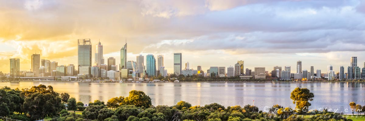Golden City Glow, Perth City Skyline, Western Australia - Photographic Art
