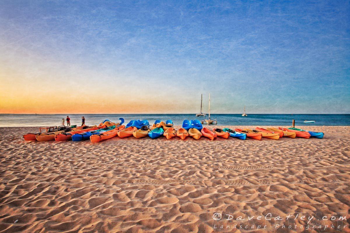 Kayaks on the Beach, Monkey Mia, Western Australia - Photographic Art