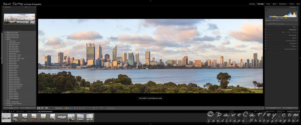 Initial Processing in Lightroom, Perth City Skyline, Perth, Western Australia