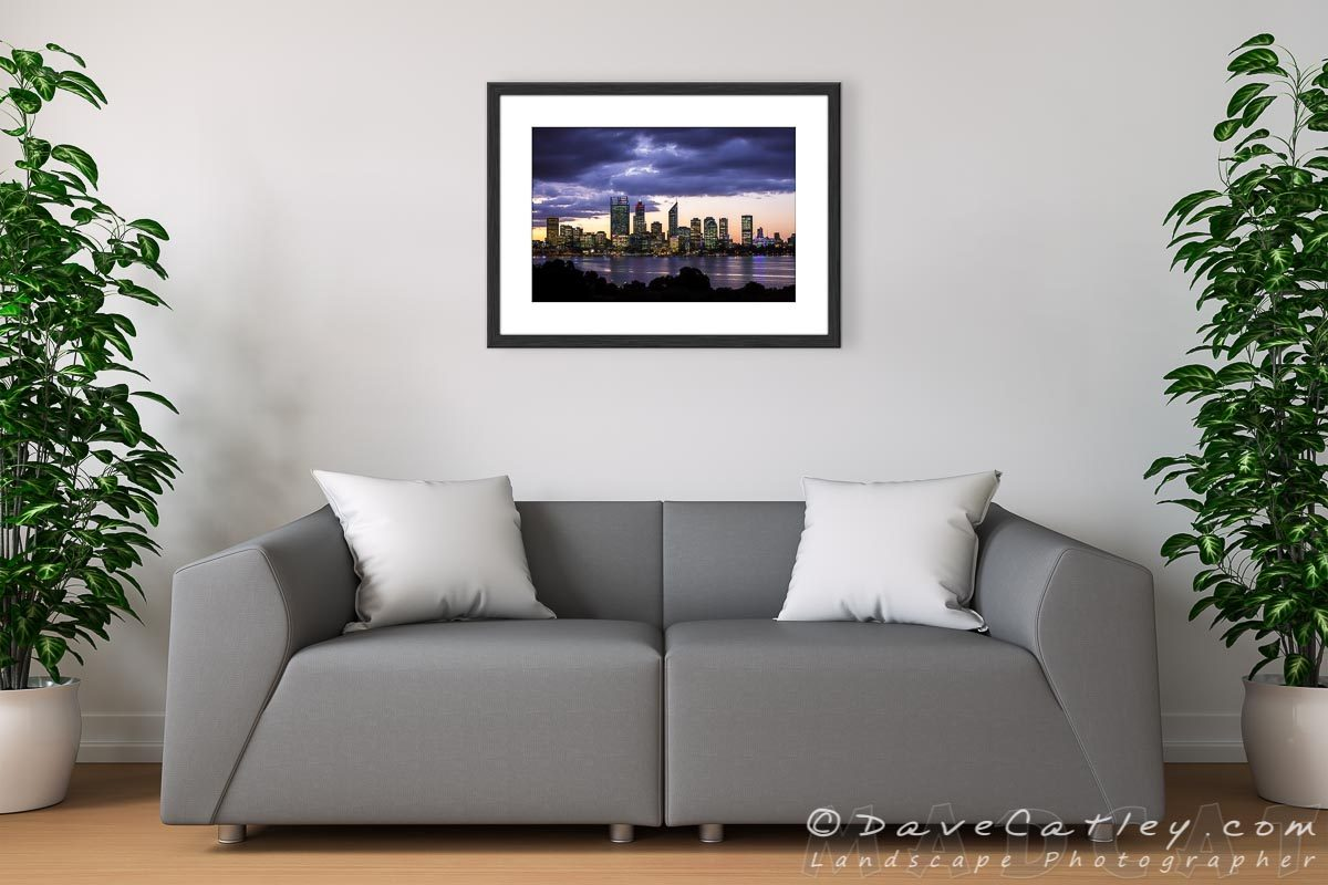 Living Room Framed Print - City Sunset, Perth City Skyline - Western Australian Landscape Photography