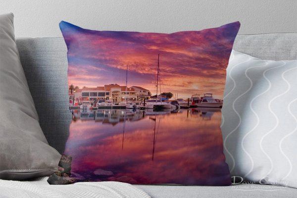 Marina Glow - Mindarie Marina, Mindarie, Perth, Western Australia, Seascape Cushion Cover (MMP1.1-V3-CC1)