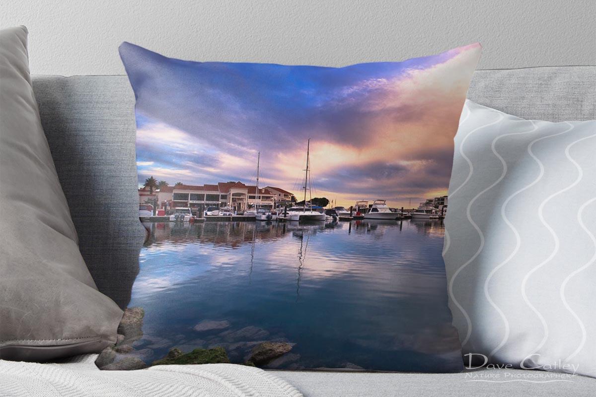 Marina Reflections - Mindarie Marina, Mindarie, Perth, Western Australia, Seascape Cushion Cover (MMP1.3-V1-CC1)