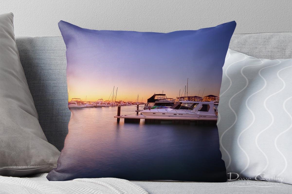 Marina Gold - Mindarie Marina, Wanneroo, Perth, Western Australia, Seascape Cushion Cover (MMS2.1-V1-CC1)