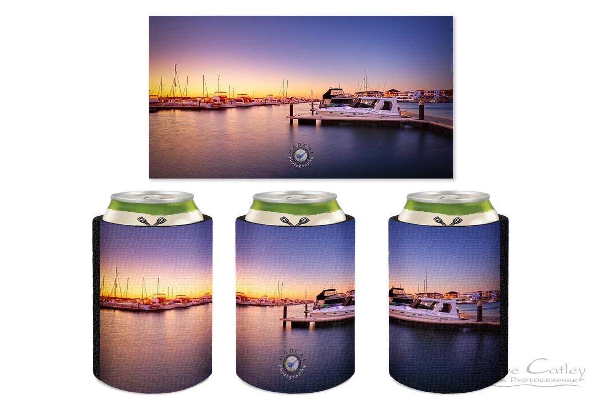 Marina Gold - Mindarie Marina, Wanneroo, Perth, Western Australia, Seascape Stubby Holder (MMS2.1-V1-SH1)