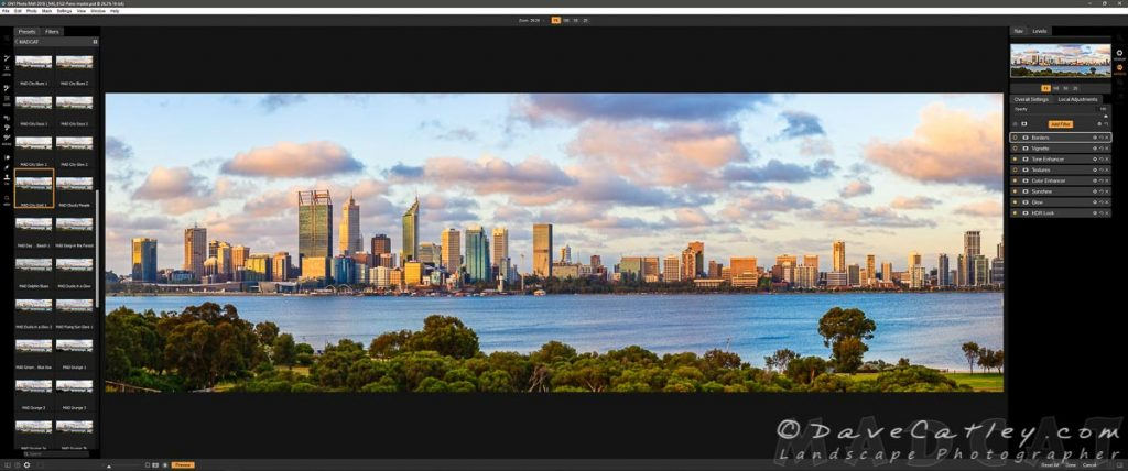 Effects Added in ON1 Photo Raw, Perth City Skyline, Perth, Western Australia
