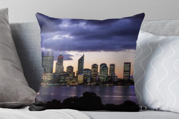 City Sunset - Perth Skyline, Perth City, Perth, Western Australia, Landscape Cushion Cover (PCV2.1-V1-CC1)