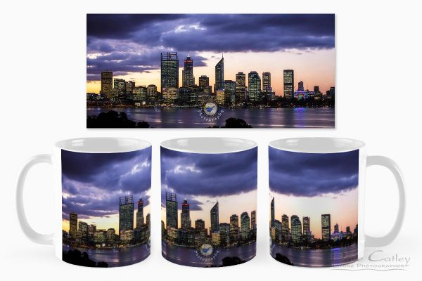 City Sunset - Perth Skyline, Perth City, Perth, Western Australia, Landscape Mug (PCV2.1-V1-MG1)