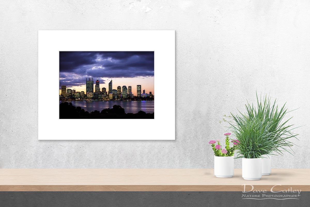 City Sunset - Perth Skyline, Perth City, Perth, Western Australia, Landscape Print (PCV2.1-V1-TH1)