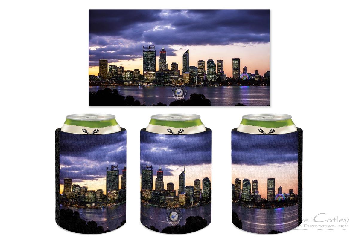 City Sunset - Perth Skyline, Perth City, Perth, Western Australia, Landscape Stubby Holder (PCV2.1-V1-SH1)