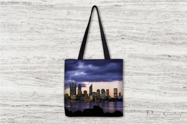 City Sunset - Perth Skyline, Perth City, Perth, Western Australia, Landscape Tote Bag (PCV2.1-V1-TB1)