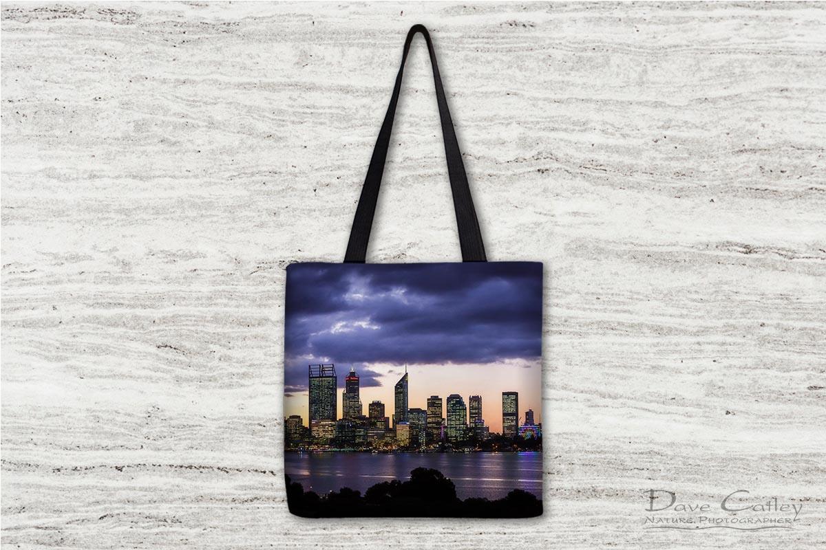 City Sunset - Perth Skyline, Perth City, Perth, Western Australia, Landscape Tote Bag (PCV2.1-V1-TB1)