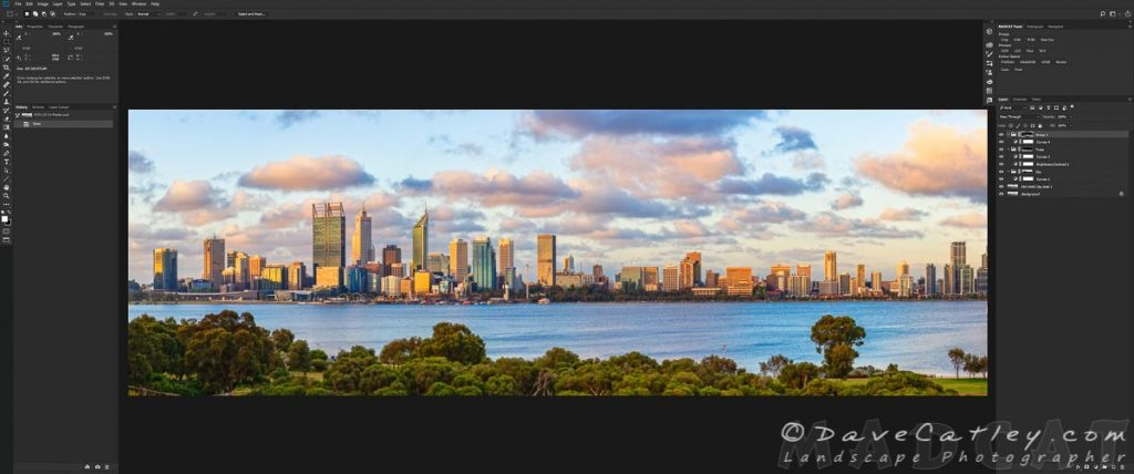 Final Processing in Photoshop, Perth City Skyline, Perth, Western Australia