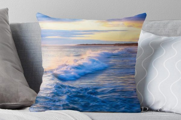 Sunsets & Waves - Quinns Beach, Quinns Rocks, Perth, Western Australia, Seascape Cushion Cover (QBV1.5-V1-CC1)