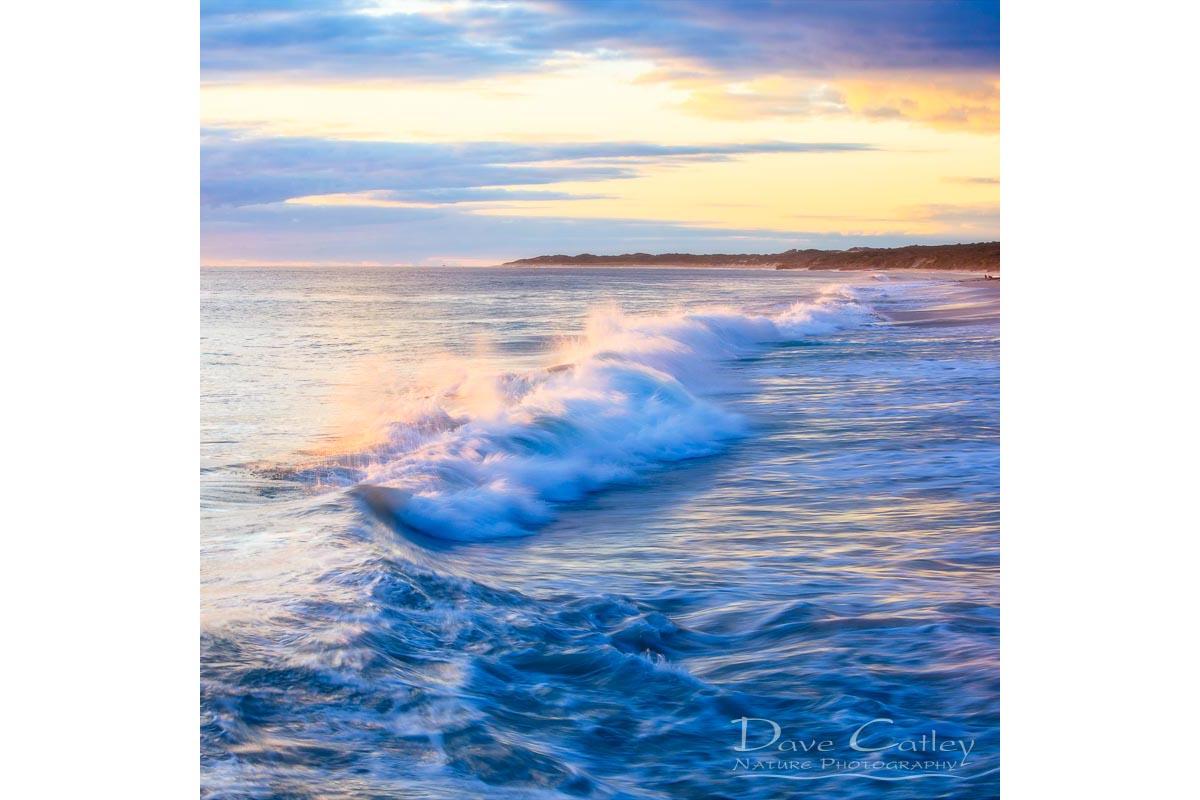Sunsets & Waves - Quinns Beach, Quinns Rocks, Perth, Western Australia, Seascape Cushion Cover (QBV1.5-V1-CC1)