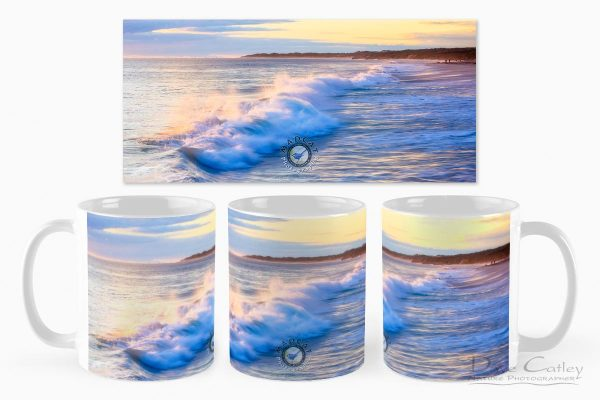 Sunsets & Waves - Quinns Beach, Quinns Rocks, Perth, Western Australia, Seascape Mug (QBV1.5-V1-MG1)