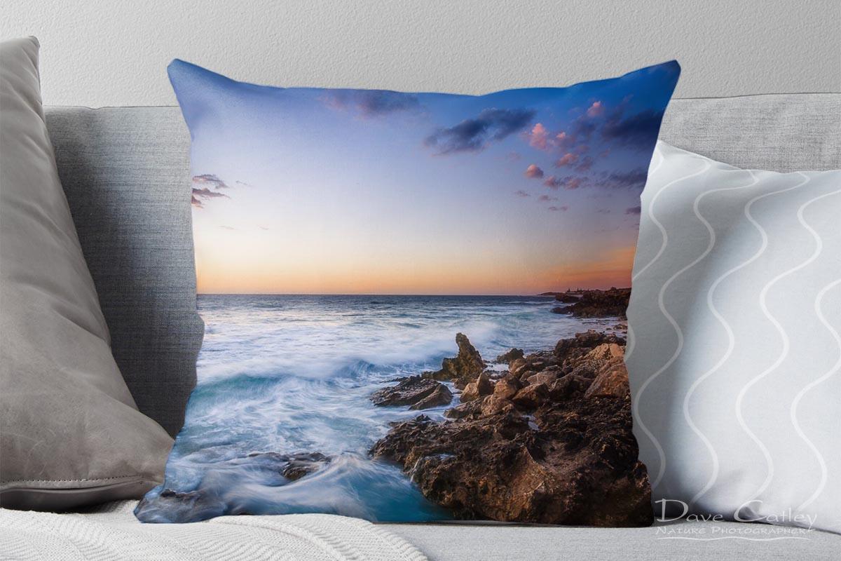 Sunset Waves - Rocky Coastline, Mindarie, Perth, Western Australia, Seascape Cushion Cover (MCS1.8-V2-CC1)