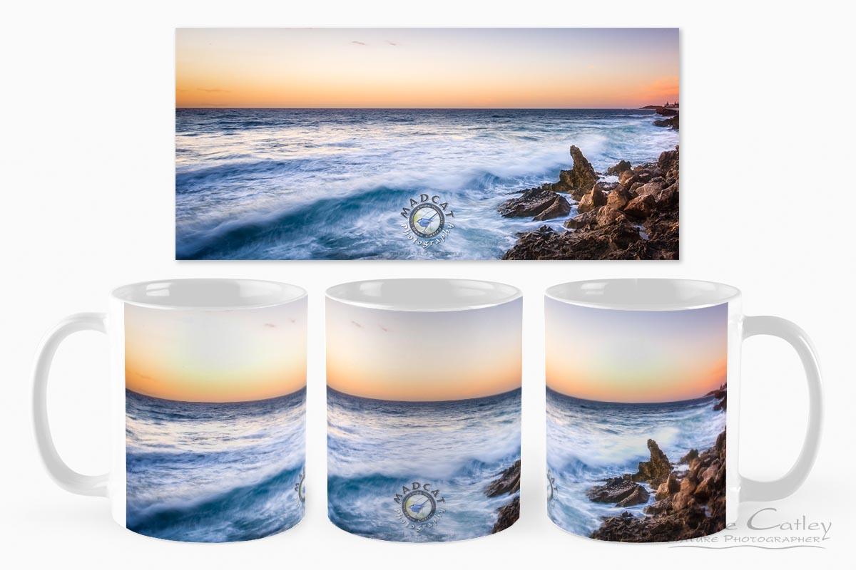 Sunset Waves - Rocky Coastline, Mindarie, Perth, Western Australia, Seascape Mug (MCS1.8-V2-MG1)