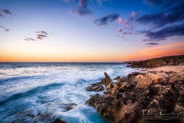 Sunset Waves - Rocky Coastline, Mindarie, Perth, Western Australia, Seascape Print (MCS1.8-V2-TH1)