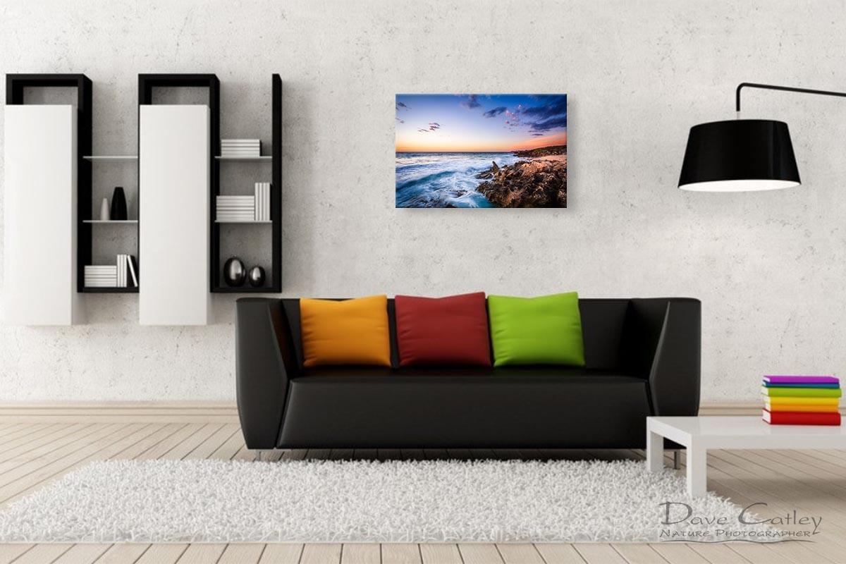 Sunset Waves - Rocky Coastline, Mindarie, Perth, Western Australia, Seascape Print (MCS1.8-V2-TH1)