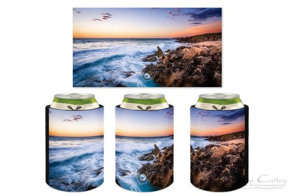 Sunset Waves - Rocky Coastline, Mindarie, Perth, Western Australia, Seascape Stubby Holder (MCS1.8-V2-SH1)