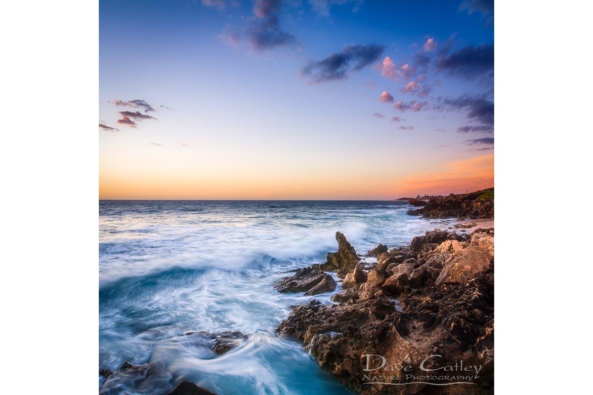 Sunset Waves - Rocky Coastline, Mindarie, Perth, Western Australia, Seascape Tote Bag (MCS1.8-V2-TB1)
