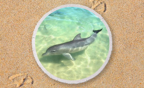 Round Beach Towel - Samu the Dolpin from Monkey Mia, Shark Bay