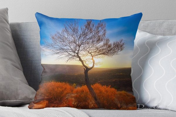 Dead River Tree - Sunset, Murchison River, Kalbarri, Western Australia, Landscape Cushion Cover (KNP1.1-V1-CC1)